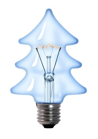 christmas tree tungsten light bulb lamp on white background photo