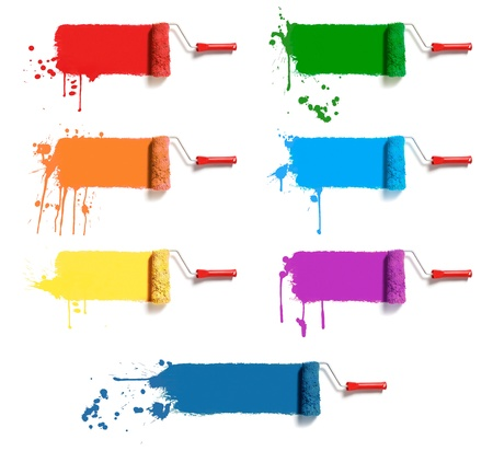 roller: cepillos cil�ndricos con siete colores de pintura Foto de archivo