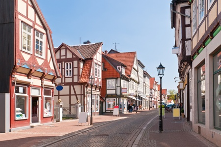half-timber houses street in Celle, Germany