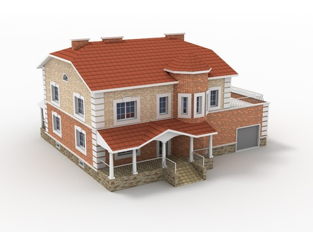 manor: 3d model render of living house