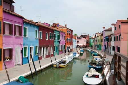 burano: Colorful houses and canals of Burano island, Italy