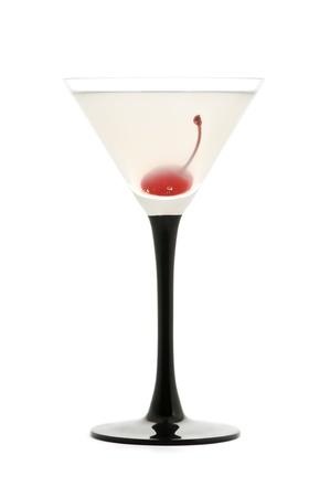 verm�: vermouth c�ctel con la cereza y el jugo de toronja en blanco Foto de archivo