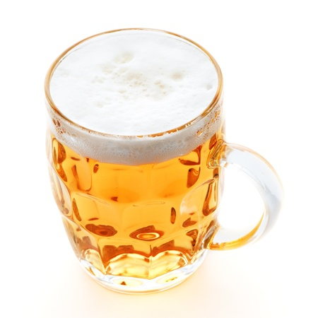 single beer: pint mug of beer on white background Stock Photo