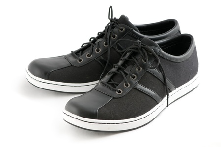 mens shoes: mens casual black shoes on white background