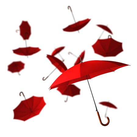 open classic red umbrella stick photo