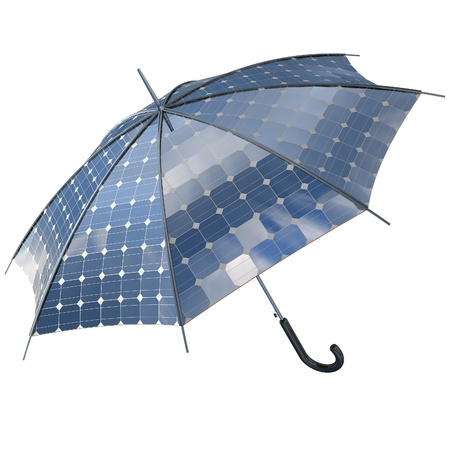開いている太陽太陽光発電傘はスティックをコンセプト 写真素材