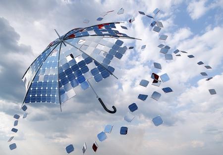 open solar photovoltaic umbrella stick concept Foto de archivo