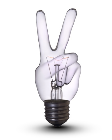 victory hand lightbulb photo