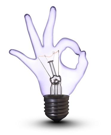 OK hand lamp bulb  Banco de Imagens