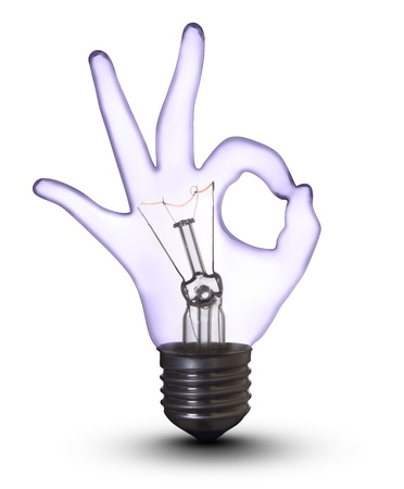 electric bulb: OK hand lamp bulb  Stock Photo