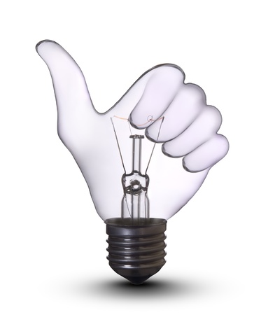 save electricity: hand lightbulb