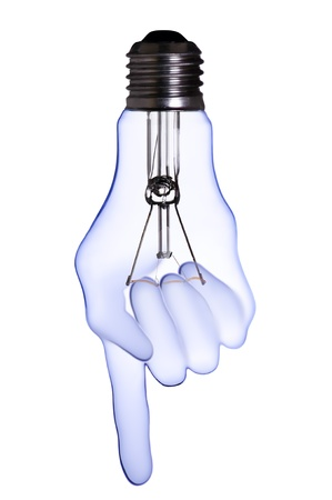 index finger hand lamp bulb  Stock Photo