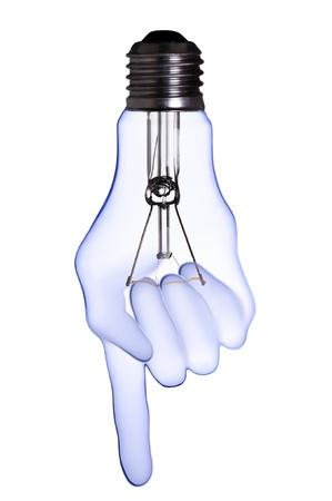 index finger hand lamp bulb  Stock Photo