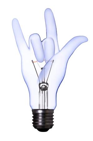 metall lamp: love sign hand lamp bulb
