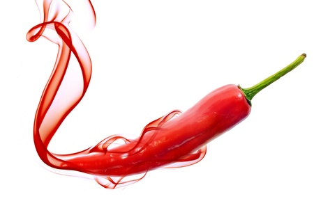 red pepper: red hot chili pepper with smoke on white