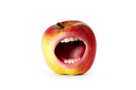 red angry apple with mouth  photo