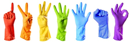 raibow color rubber gloves Stock Photo