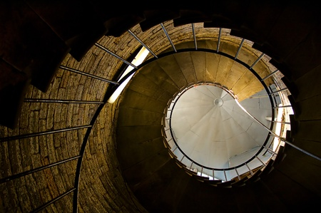 spiral stairs tower abstract point of view Stock Photo
