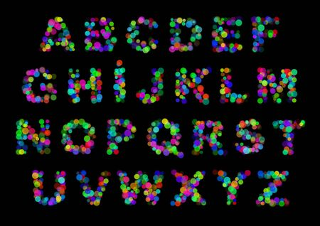 color abstract light latin alphabet letters on black photo