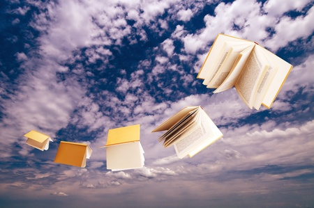 flock of books flying on blue sky background photo