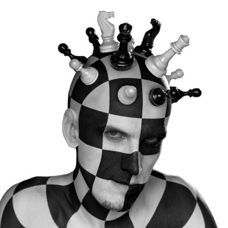 chess knight: young male with chess king head