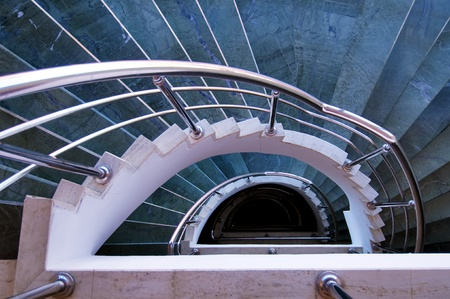 modern spiral stairs view from top photo