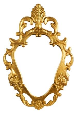 spiegelbeeld: gouden vintage metalen frame Stockfoto