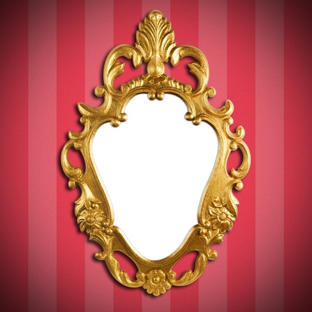 gold vintage metal frame on wall photo
