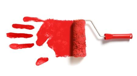 empreinte du pouce: brosse-rouleau de peinture avec empreinte de la main droite rouge Banque d'images