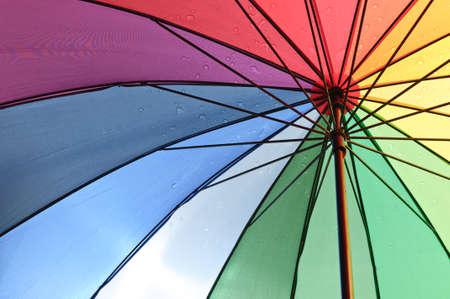 rain umbrella: Under an color umbrella with rain drops Stock Photo