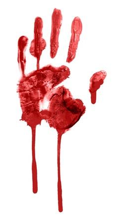 bloody hand print: huella de sangre de una mano y los dedos Foto de archivo