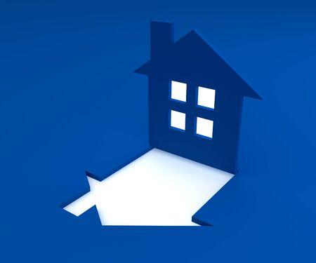 house render: blue house logo 3d render