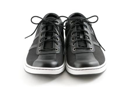 mens casual black shoes on white background photo
