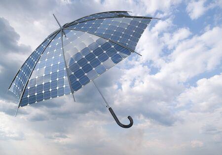 photovoltaic power station: open solar photovoltaic umbrella stick concept Stock Photo