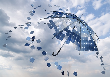 open solar photovoltaic umbrella stick concept photo