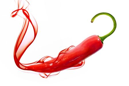 red hot chili pepper with smoke on white  photo