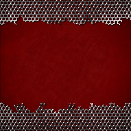 perforated metal with dark red background photo