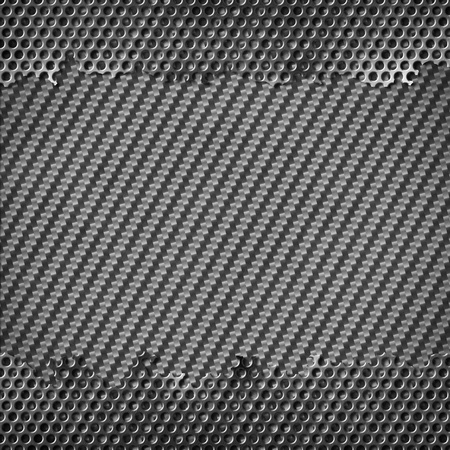 perforated metal with carbon background Stock Photo - 12402452
