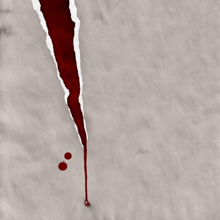 ripped paper with blood drops