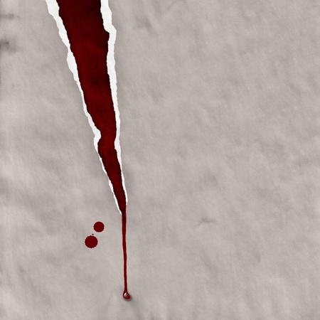 zerrissenen Papier mit Blut Tropfen