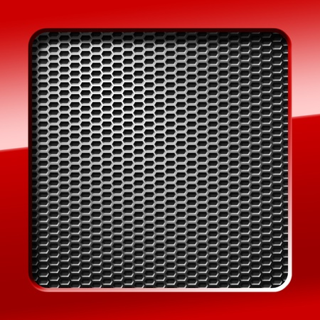 shiny metal background: metal honeycomb grid with red frame