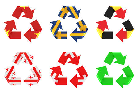 recycling symbol with flags photo