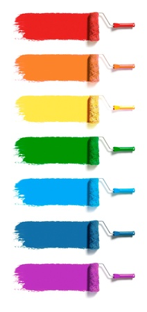 red paint roller: roller brushes with seven colors paint