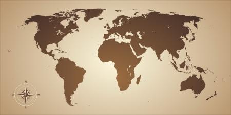 コンパスと世界地図、古いスタイル