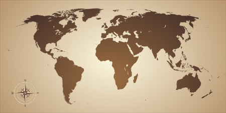 world location: world map old style with compas