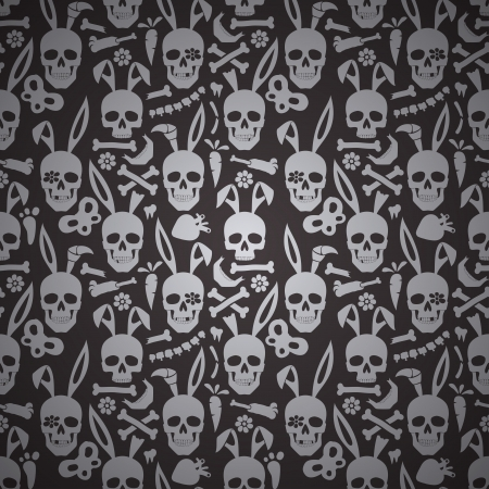 bunny rabbit: bunny skull seamless dark wallpaper