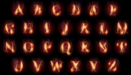 ラテン アルファベット文字の燃える火のセット