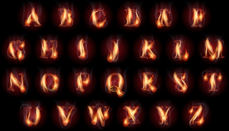 set of fire burning latin alphabet letters Çizim