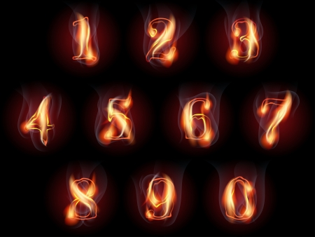 set of fire burning arabic numbers Illustration