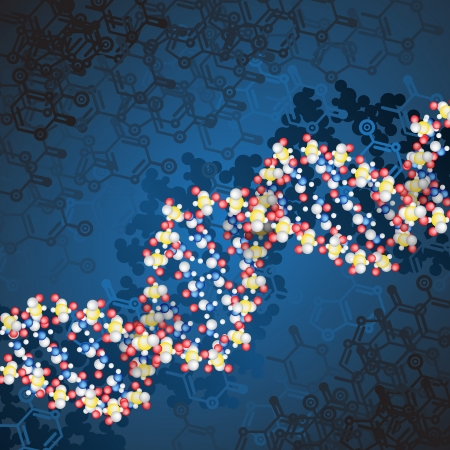 dna structure with chemical scheme background Vector